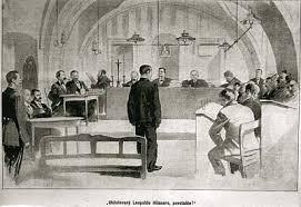 Dobová kresba kutnohorské soudní síně při mprocesu s L.Hilsnerem