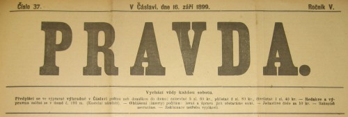 Záhlaví týdeníku PRAVDA z 16.září 1899