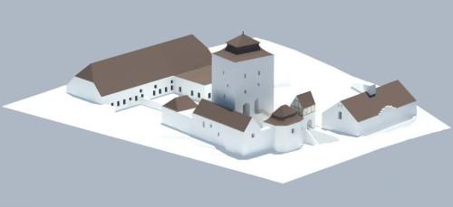Vizualizace konečné podoby hradenínské tvrze po celkové rekonstrukci.  Autorem je Irena Hrabincová, Dipl. Arch., IHARCH, s.r.o.