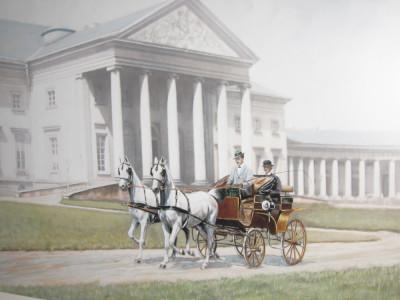 Vyjížďka před zámkem, kolorovaná fotografie z r. 1910